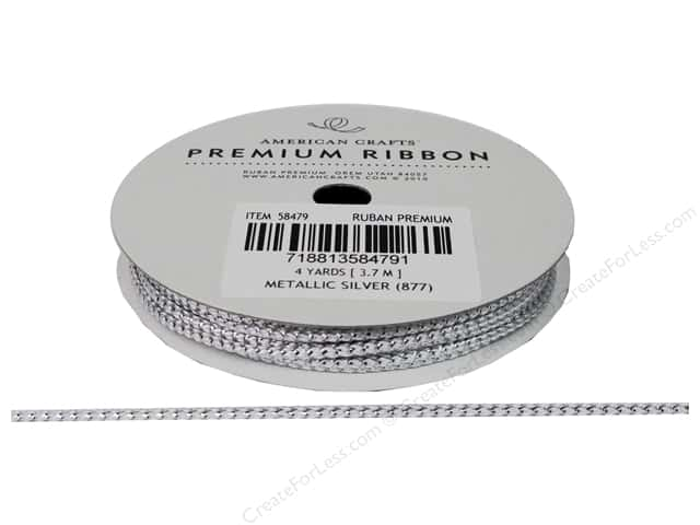 American Crafts Cord Ribbon 1/8 in. x 4 yd. Silver