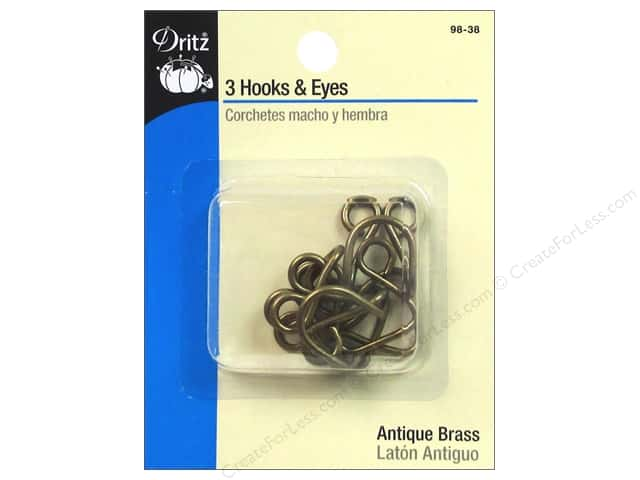 Hooks and Eyes by Dritz 5/8 in. Antique Brass 3pc.