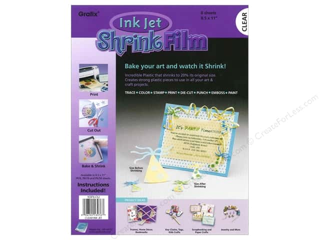 "Grafix Shrink Film 8.5""x 11"" 6pc Ink Jet Clear"