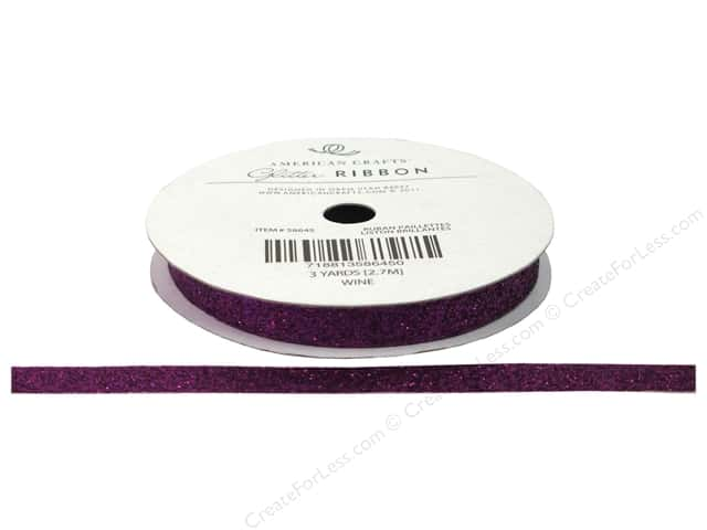 "American Crafts Ribbon Glitter 3/8"" Solid Wine 3yd"