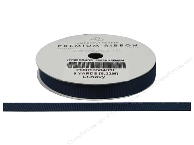 "American Crafts Ribbon Grosgrain Solid 3/8"" Denim 9yd"