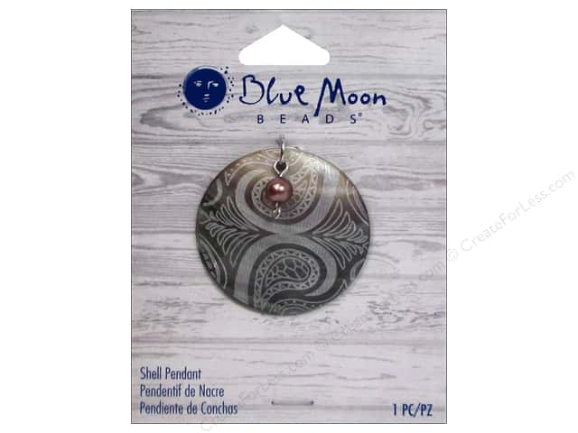 Blue Moon Beads Shell Pendant Round Engraved Shell with Pearl
