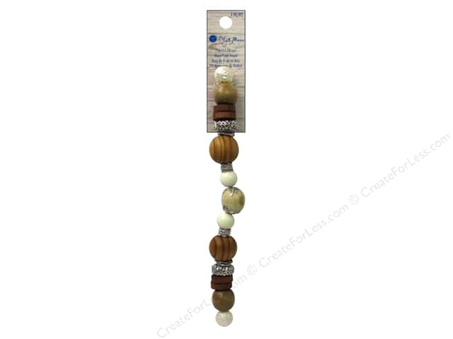 Blue Moon Beads Wood & Shell Strand Wood Metal Large Round 7 in. Silver