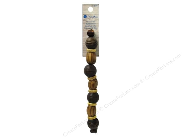 Blue Moon Beads Wood & Shell Strand Large Wood Round 7 in. Gold