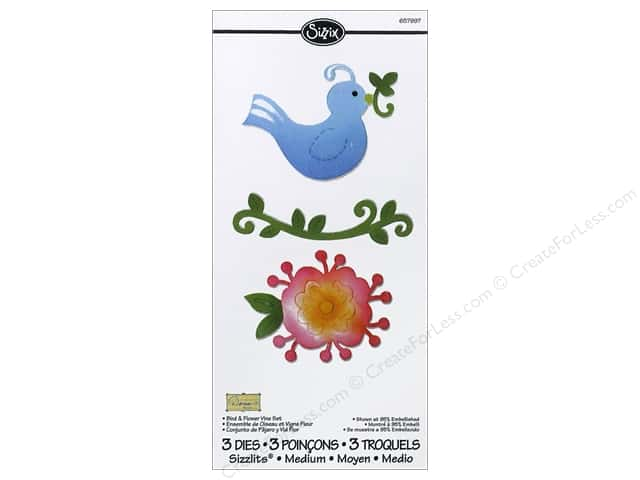 Sizzix Sizzlits Die Set 3pc. Bird & Flower Vine by Dena Designs