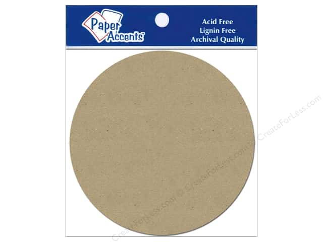 Paper Accents Chipboard Shape Circle 5 pc. Kraft