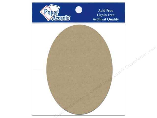 Paper Accents Chipboard Shape Oval 5 pc. Kraft
