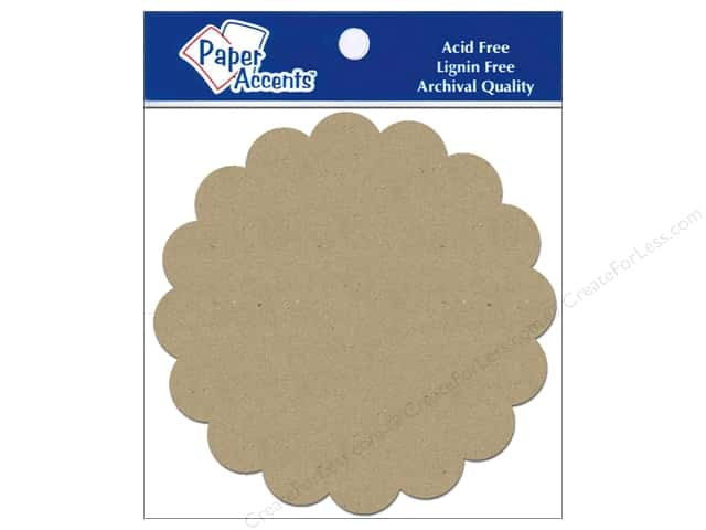 Paper Accents Chipboard Shape Scalloped Circle 5 pc. Kraft