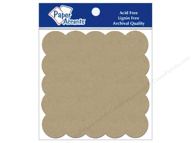 Paper Accents Chipboard Shape Scalloped Square 5 pc. Kraft