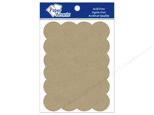 Paper Accents Chipboard Shape Scalloped Rectangle 5 pc. Kraft