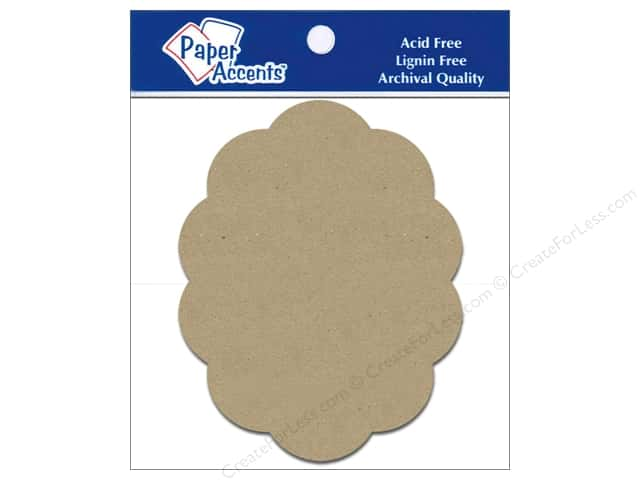 Paper Accents Chipboard Shape Scalloped Oval 5 pc. Kraft