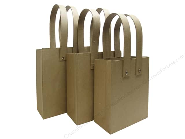 Paper Mache Shopping Bag Set of 3 by Craft Pedlars (4 sets)