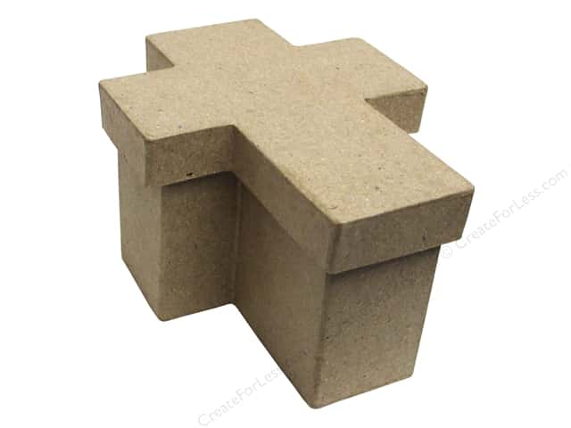 Paper mache cross box 4 1 2 in by craft pedlars for Craft paper mache boxes