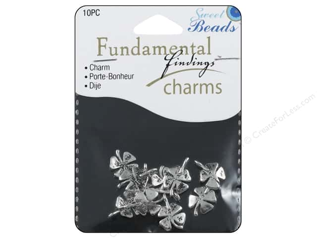 Sweet Beads Fundamental Finding Charm 4 Leaf Clover Silver 10pc