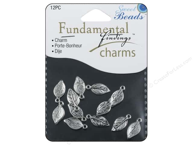 Sweet Beads Fundamental Finding Charm Leaves Silver 12pc