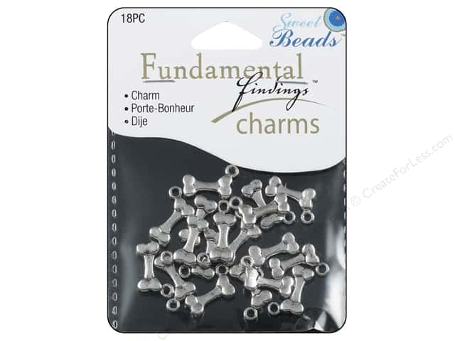 Sweet Beads Fundamental Finding Charm Dogbone Silver 18pc