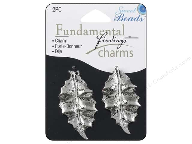 Sweet Beads Fundamental Finding Charms 2 pc. Leaves Silver
