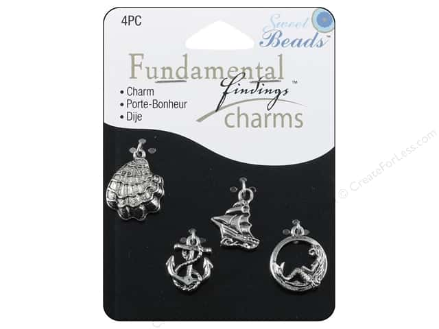 Sweet Beads Fundamental Finding Charm Seashore Silver 4pc