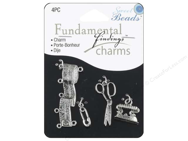 Sweet Beads Fundamental Finding Charms 4 pc. Sewing Silver