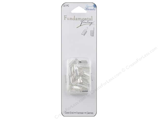 Sweet Beads Fundamental Finding Cord End Foldover Silver 32pc
