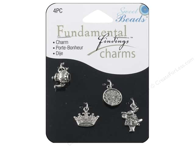 Sweet Beads Fundamental Finding Charms 4 pc. Storybook Silver