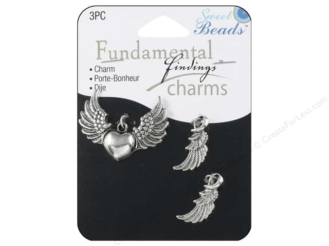Sweet Beads Fundamental Finding Charm Wings Silver 3pc
