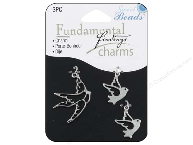 Sweet Beads Fundamental Finding Charms 3 pc. Birds Silver