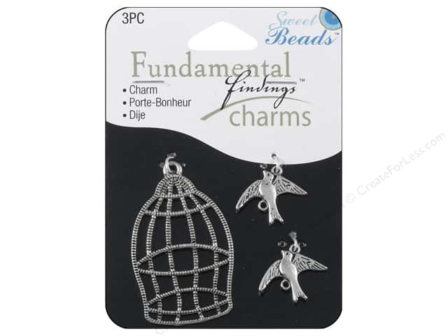 Sweet Beads Fundamental Finding Charm Birds & Cage Silver 3pc