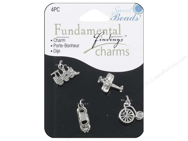 Sweet Beads Fundamental Finding Charm Travel Silver 4pc