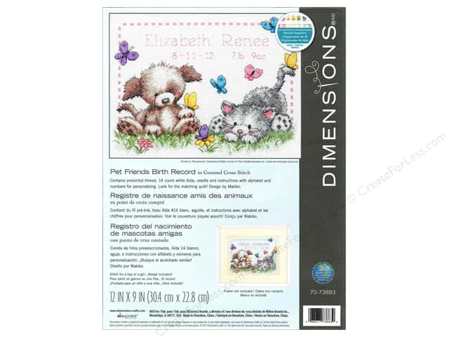 Dimensions Cross Stitch Kit Pet Friends Birth Record