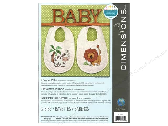 Dimensions Cross Stitch Kit Stamp Kimba Bibs 2pc