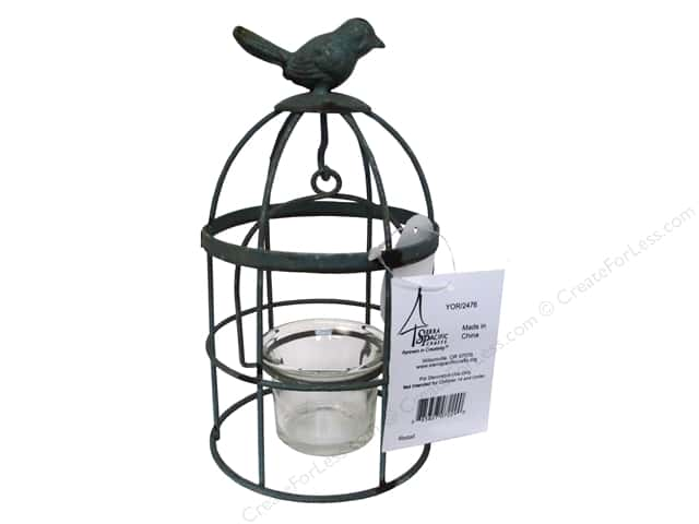 Sierra Pacific Decor Metal Birdcage Tea Light Holder with Bird 7.5""
