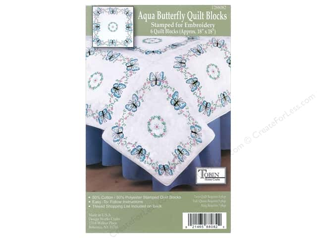 "Tobin Stamped Quilt Block 18"" Aqua Butterflies 6pc"