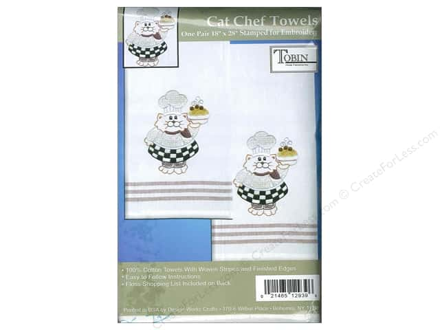 "Tobin Stamped Towel 18""x 28"" Striped Gold Cat Chef"