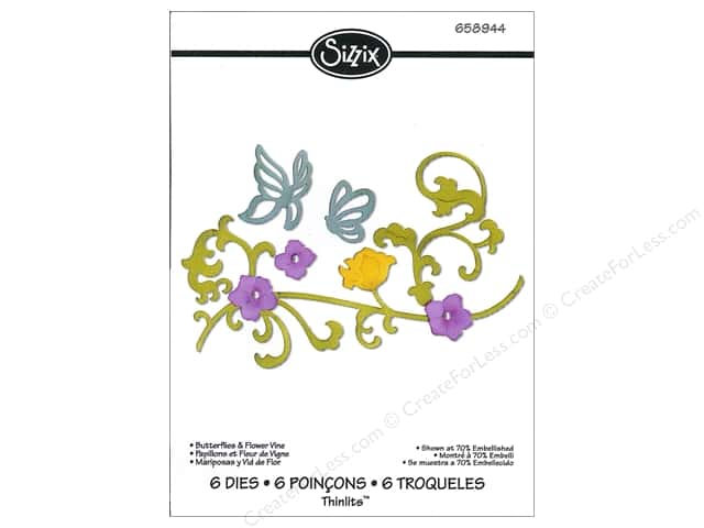 Sizzix Dies Jen Long Thinlits Butterflies & Flower Vine