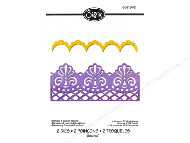 Sizzix Thinlits Die Set 2PK Damask & Scallop Borders by Jen Long