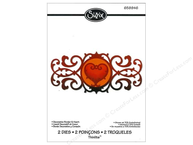 Sizzix Thinlits Die Set 2PK Decorative Border & Heart by Jen Long