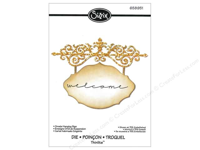 Sizzix Thinlits Die Ornate Hanging Sign by Jen Long
