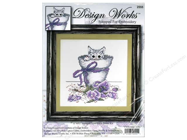 "Design Works Cross Stitch Kit 11""x 11"" Flowerpot Kitty"
