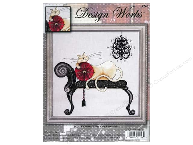 "Design Works Cross Stitch Kit 14""x 14"" Chandelier Cat"