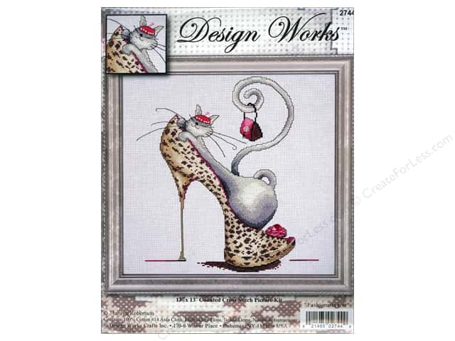 "Design Works Cross Stitch Kit 13""x 13"" Fashionista Cat"