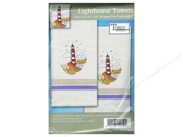 "Tobin Stamped Towel 18""x 28"" Homespun Lighthouse 2pc"
