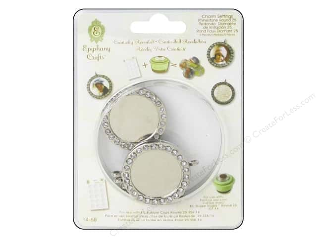 Epiphany Accessories Charm Setting Rhinestone Round #25 Silver 5pc