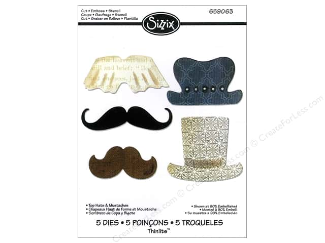 Sizzix Thinlits Die Set 5PK Top Hats & Mustaches by Jen Long-Philipsen