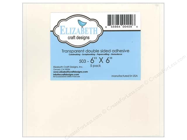 Elizabeth Craft Adhesive Double Side 6 x 6 in. Transparent 5pc