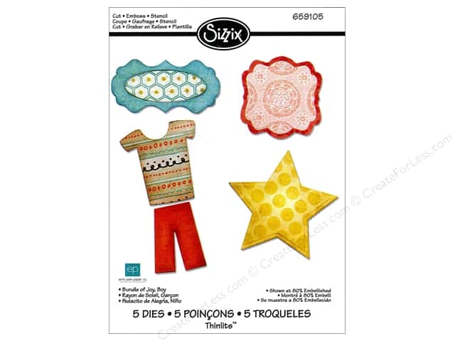 Sizzix Thinlits Die Set 5PK Bundle of Joy Boy by Echo Park Paper