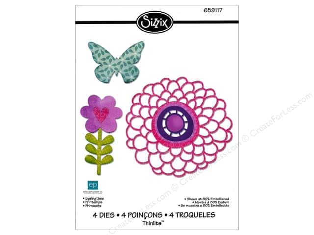 Sizzix Thinlits Die Set 4PK Springtime by Echo Park Paper