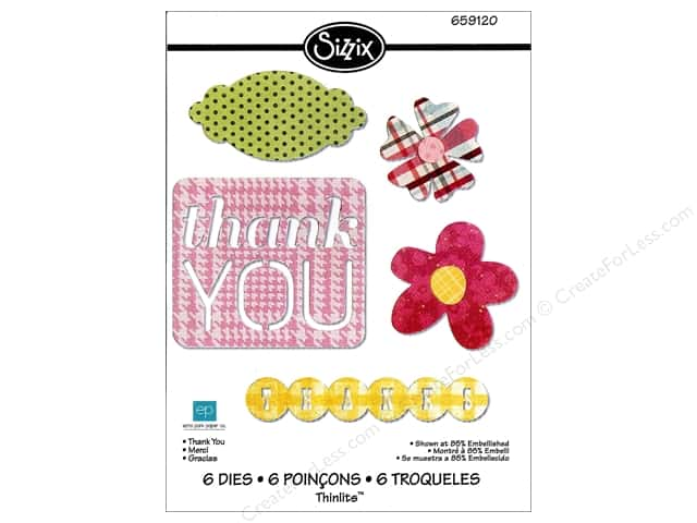 Sizzix Thinlits Die Set 6PK Thank You by Echo Park Paper