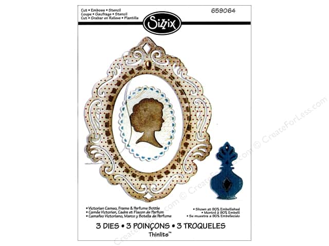 Sizzix Thinlits Die Set 3PK Victorian Cameo Frame & Perfume Bottle by Jen Long-Philipsen