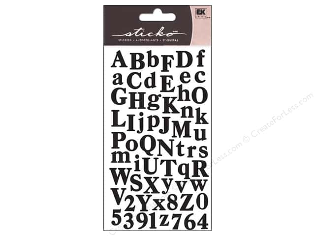 EK Sticko Alphabet Stickers Small Calent Black